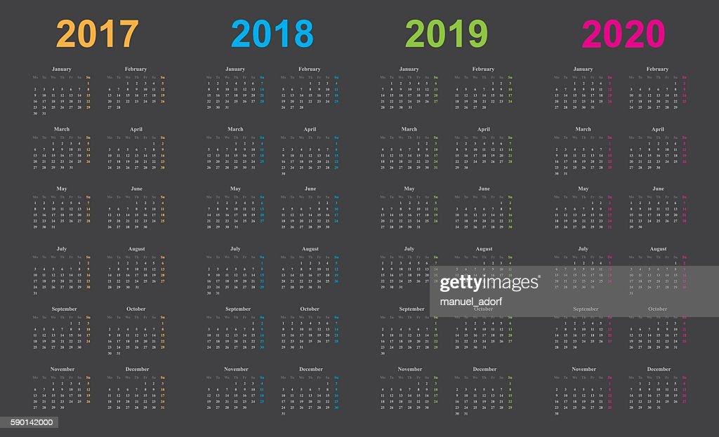 calendar 2017, 2018, 2019, 2020, gray background, simple design