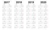 calendar 2017, 2018, 2019, 2020, simple design, sundays marked red