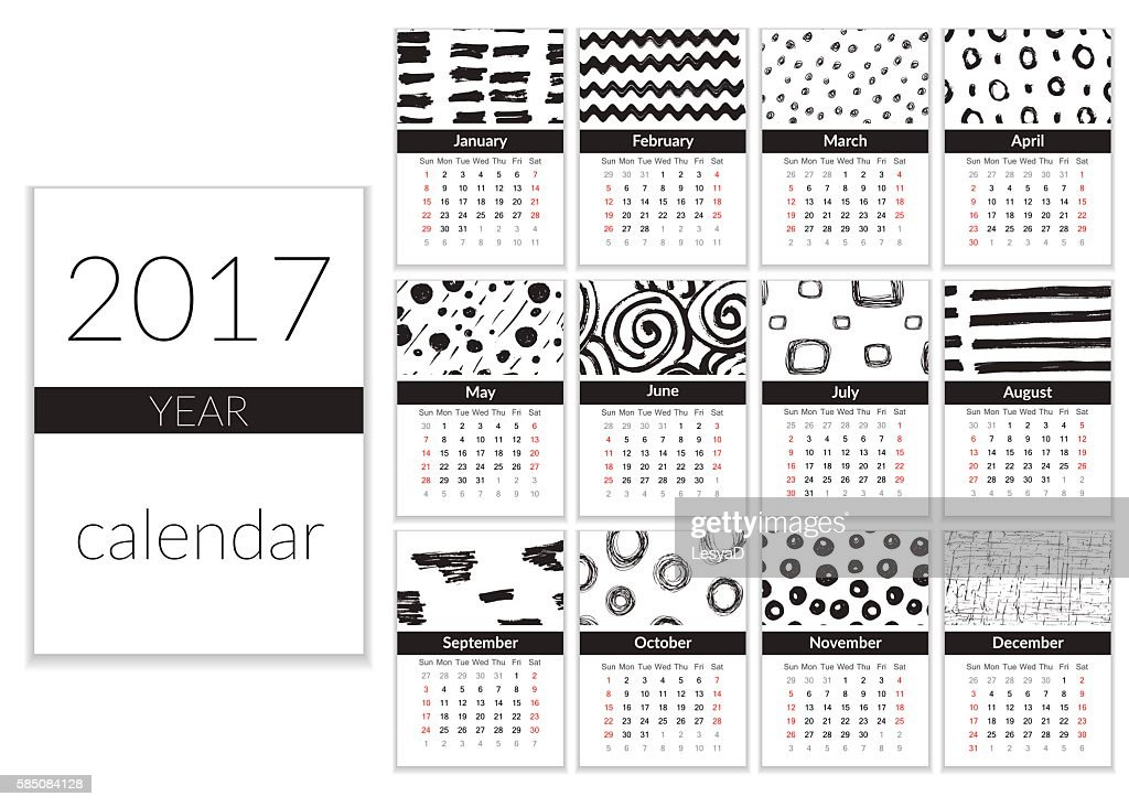 Calendar 2017 template. A4 Cards Vector with Hand Drawn Textures,