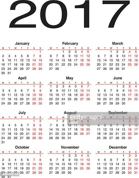 calendar 2017 - monthly event stock illustrations