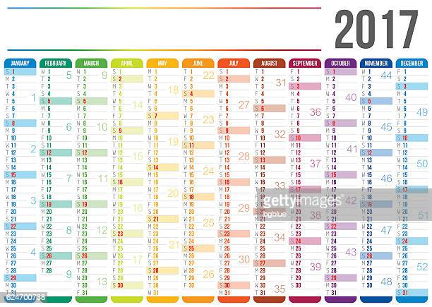 calendar 2017 - agenda stock illustrations, clip art, cartoons, & icons