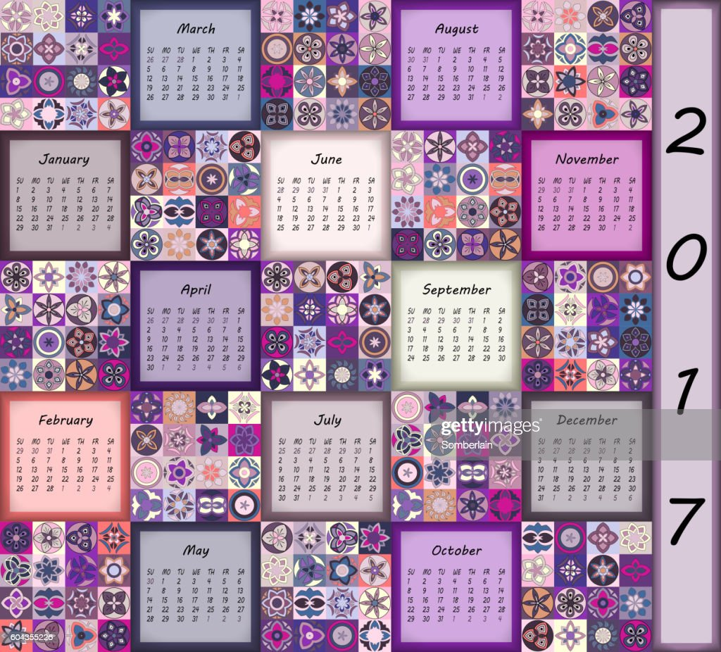 Calendar 2017. Vintage decorative colorful elements.