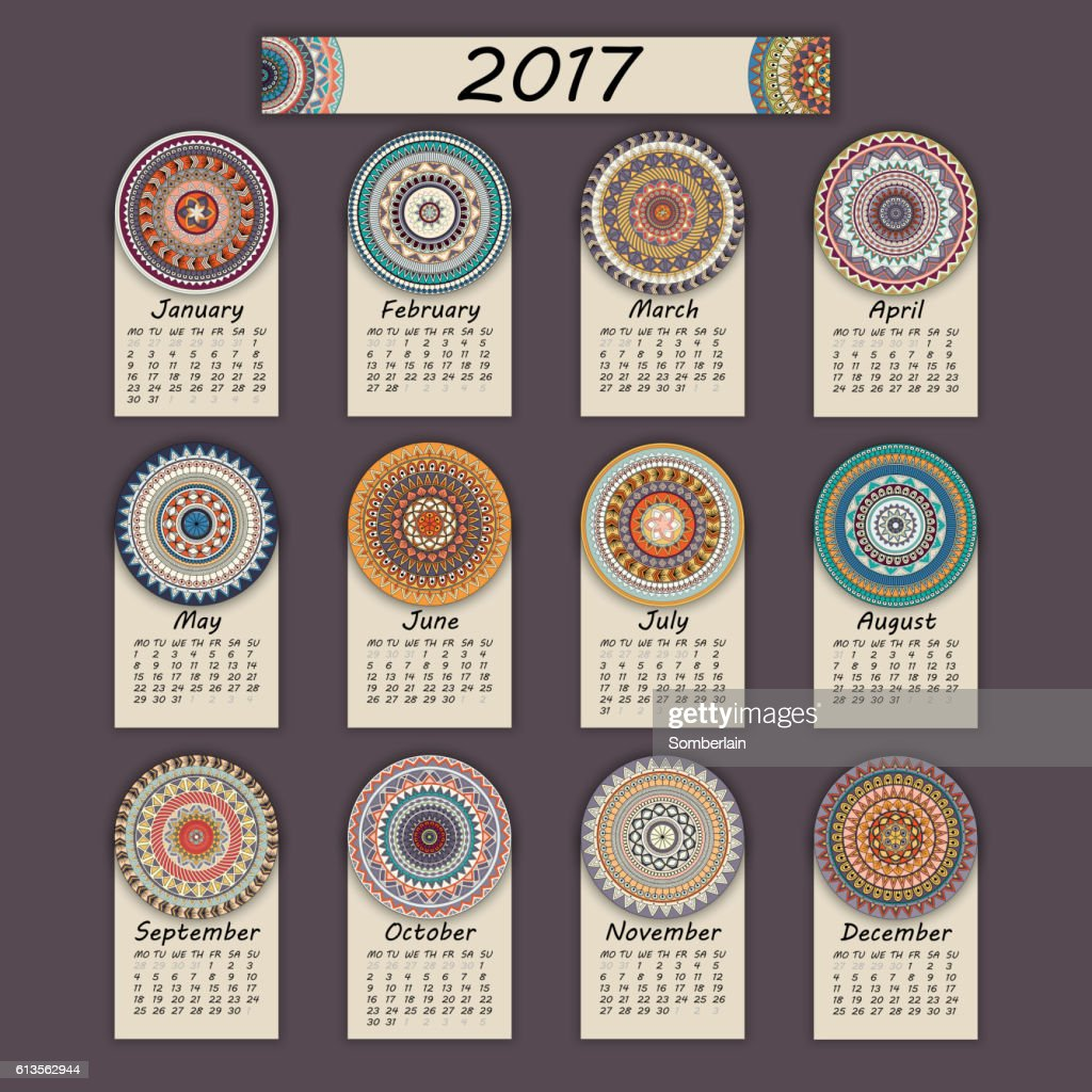 Calendar 2017. Vintage decorative colorful elements.