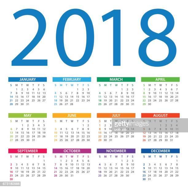Calendar 2018 - American Version