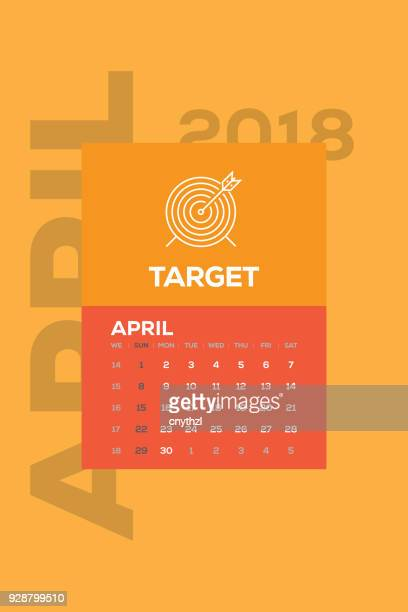 Calendar 2018 April with Business Icon
