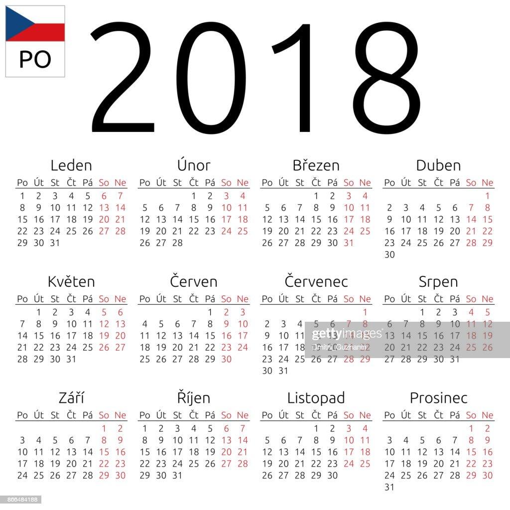 Calendar 2018, Czech, Monday