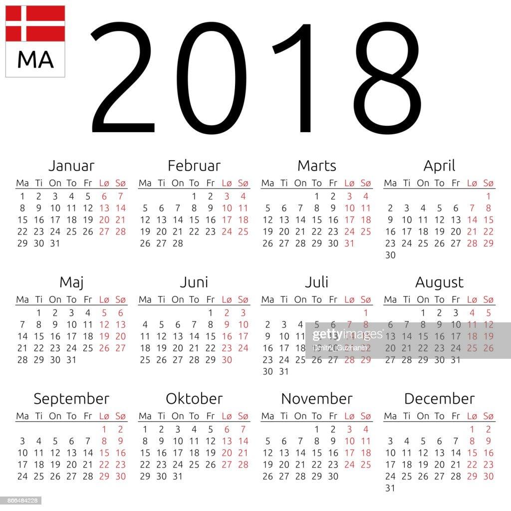Calendar 2018, Danish, Monday