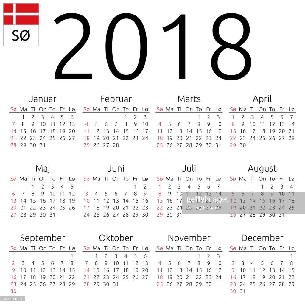 Calendar 2018, Danish, Sunday