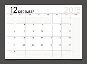 Calendar 2018 December week start on Monday. Calendar planner corporate design template vector.