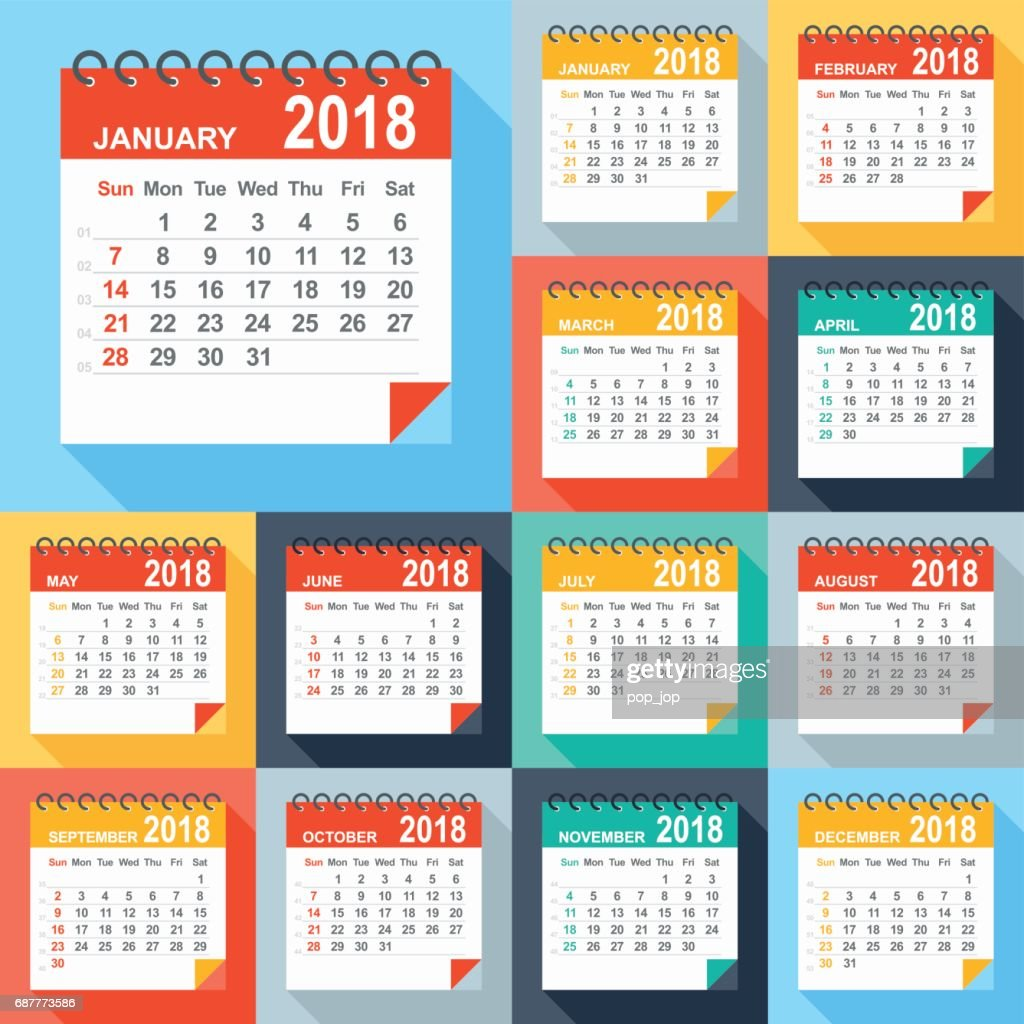 Calendar 2018 - Flat Modern Colorful : stock illustration