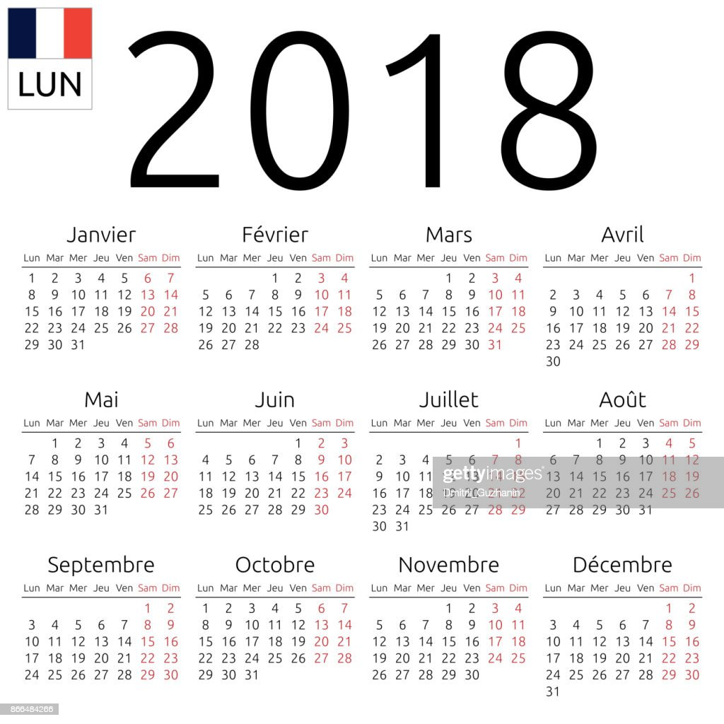 Calendar 2018, French, Monday
