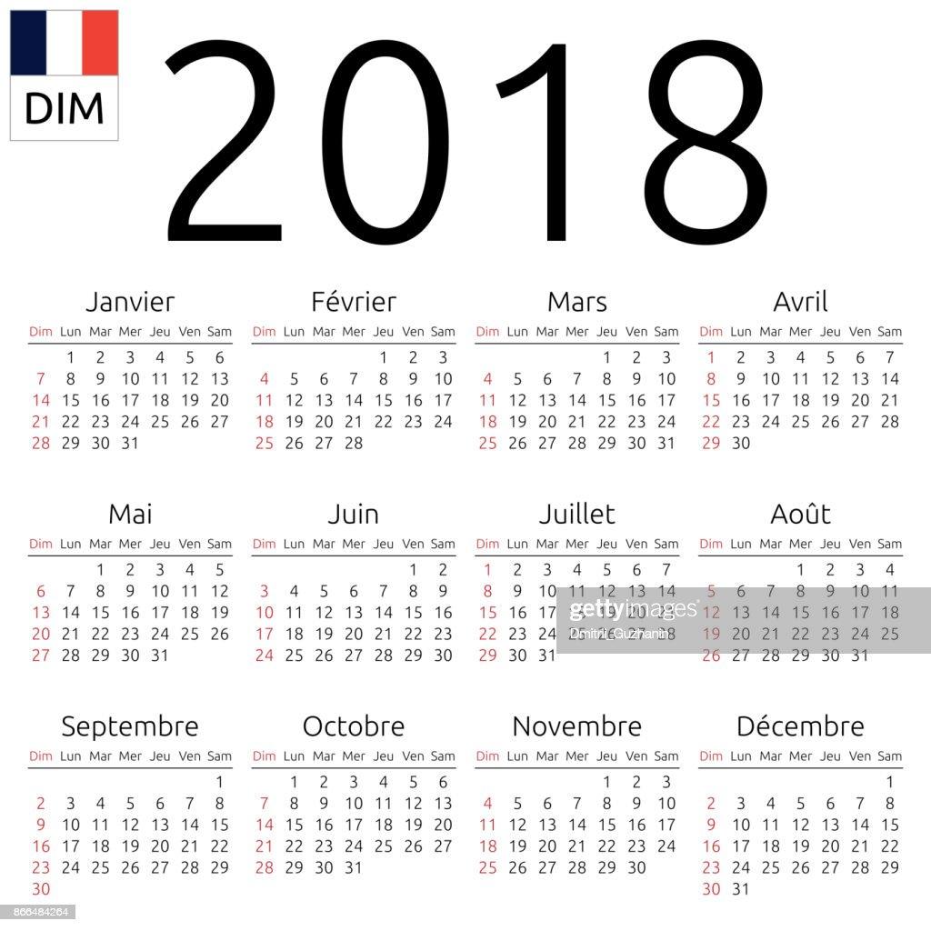 Calendar 2018, French, Sunday