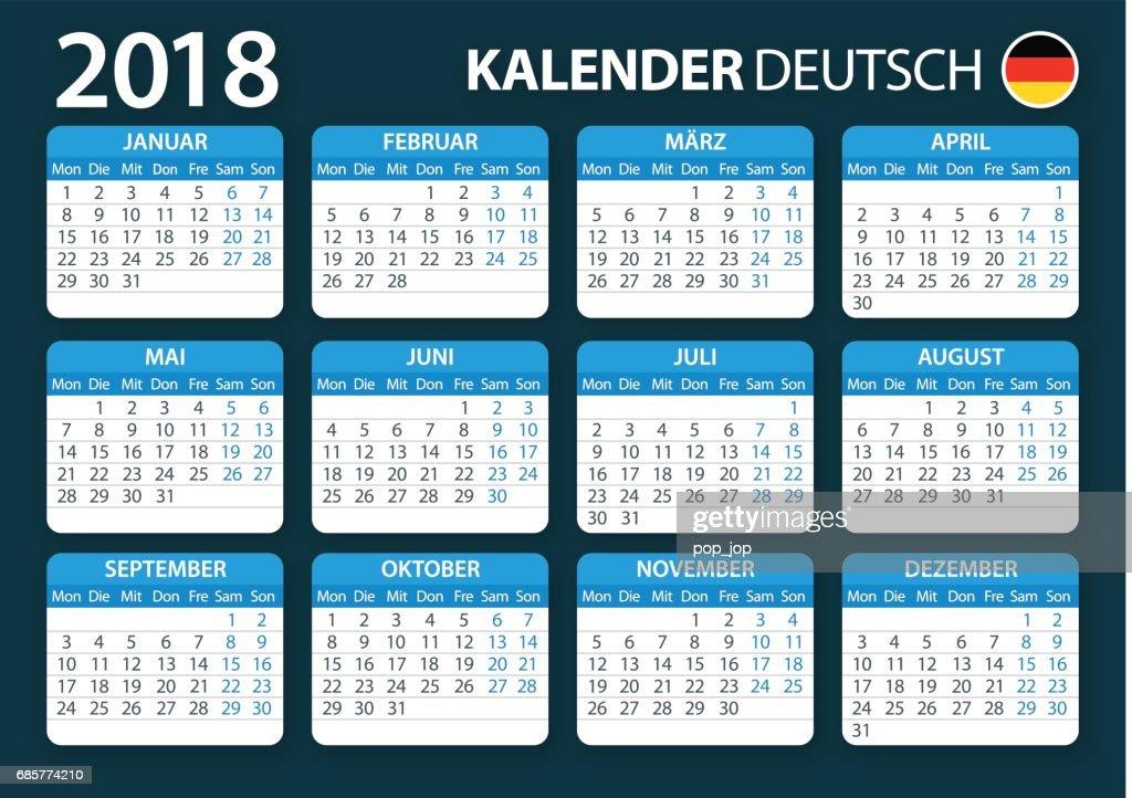 calendar 2018 german blue vector art