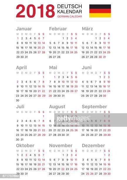 Kalender 2018 - Deutschland-Version