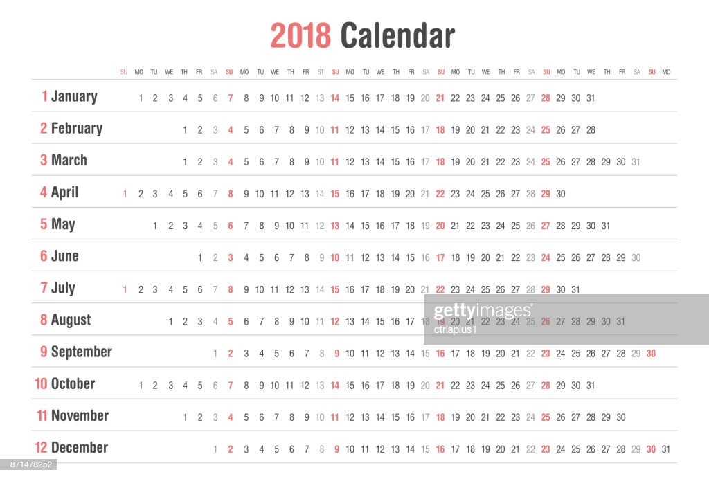 calendar 2018 landscape vector design