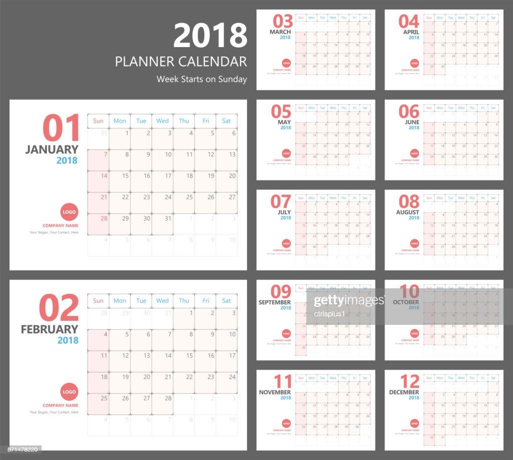 calendar 2018 planner vector design