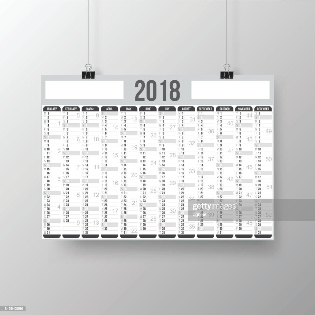 Calendar 2018 - Poster on gray brackground