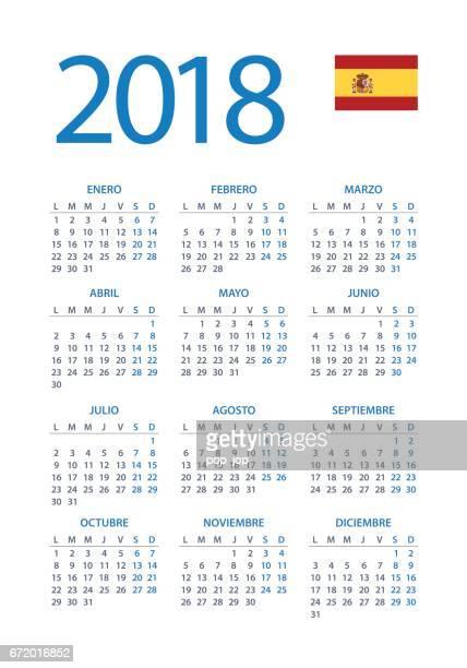 Calendar 2018 Simple - Spanish Version