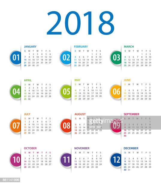 Calendar 2018 Template. Week starts on Sunday