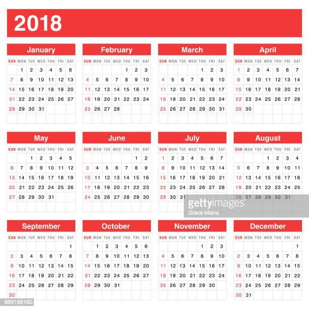 Calendar 2018 - Vector
