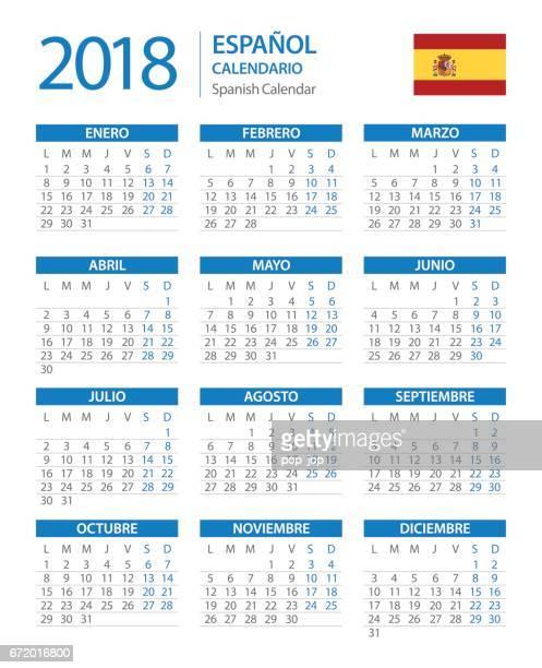 Calendar 2018 Vertical Blue - Spanish Version
