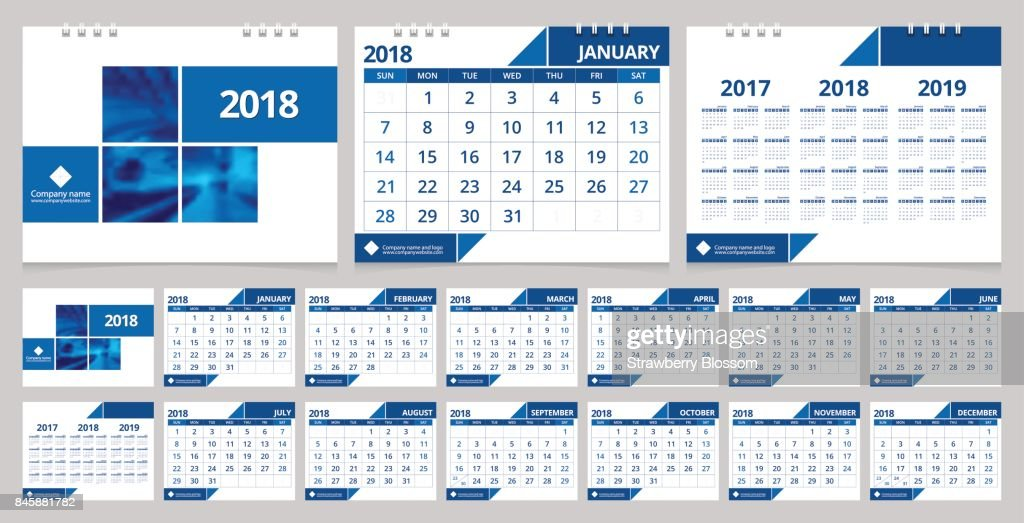 Calendar 2018 Week Start On Sunday Desk Calendar For Corporate ...