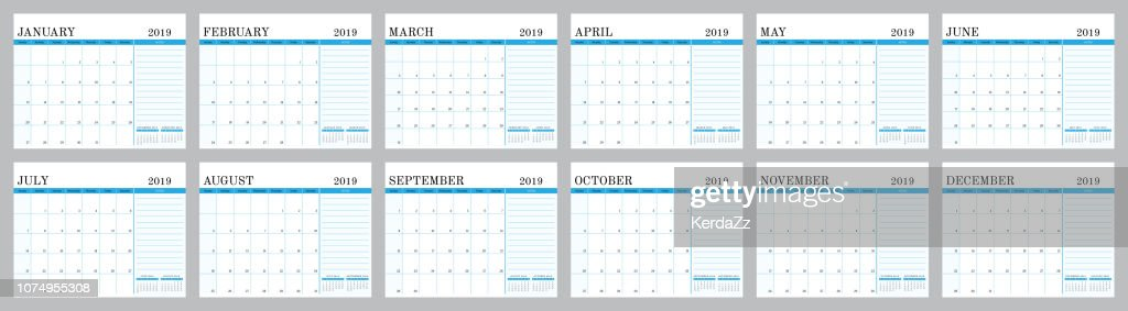 Calendar 2019 blue design ready to print