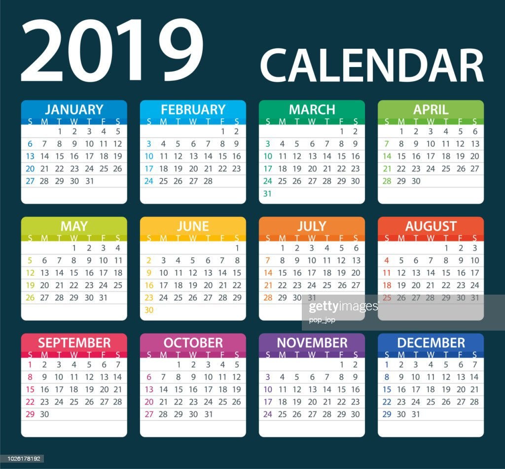 Calendar 2019 Color - illustration. Days start from Sunday