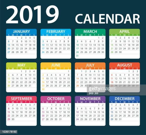 calendar 2019 color - illustration. days start from sunday - 2019 stock illustrations