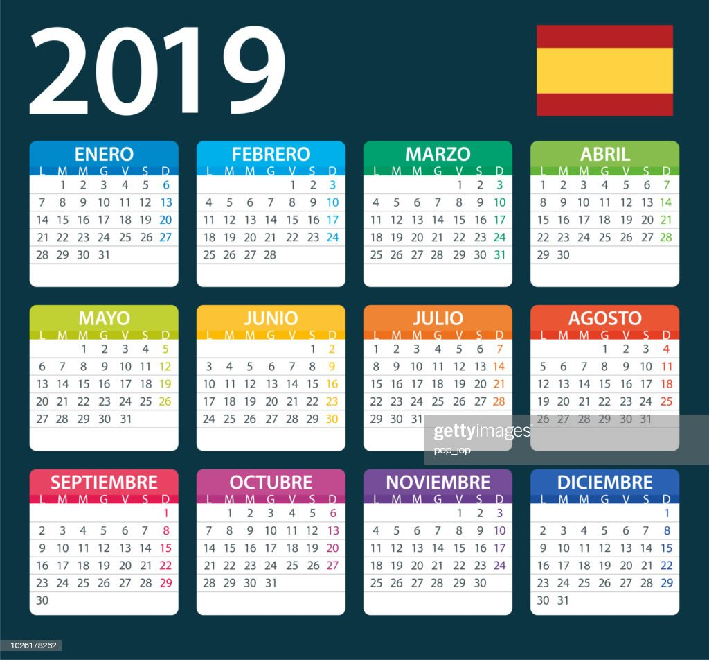 Calendario Julio 2019 Vector.Calendar 2019 Color Illustration Spanish Version Stock