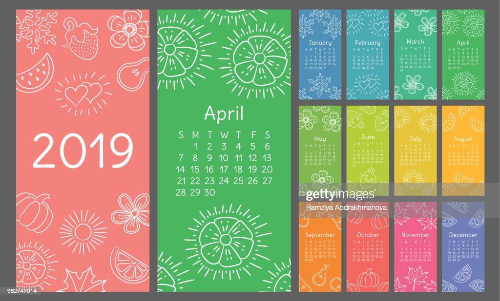 Calendar 2019 colorful hand drawn sketch. Flower, heart, leaf, strawberry, watermelon, sun, snowflake, pumpkin, pear. Thin brush illustration