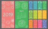 Calendar 2019 colorful hand drawn sketch. Flower, heart, leaf, strawberry, watermelon, sun, snowflake, pumpkin, pear. Thin brush illustration