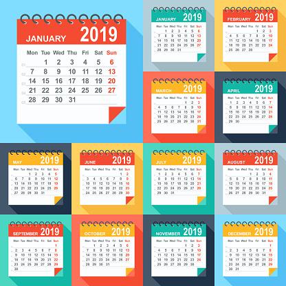Calendar 2019 - Flat Modern Colorful. Days start from Monday - gettyimageskorea