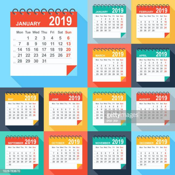 calendar 2019 - flat modern colorful. days start from monday - august stock illustrations