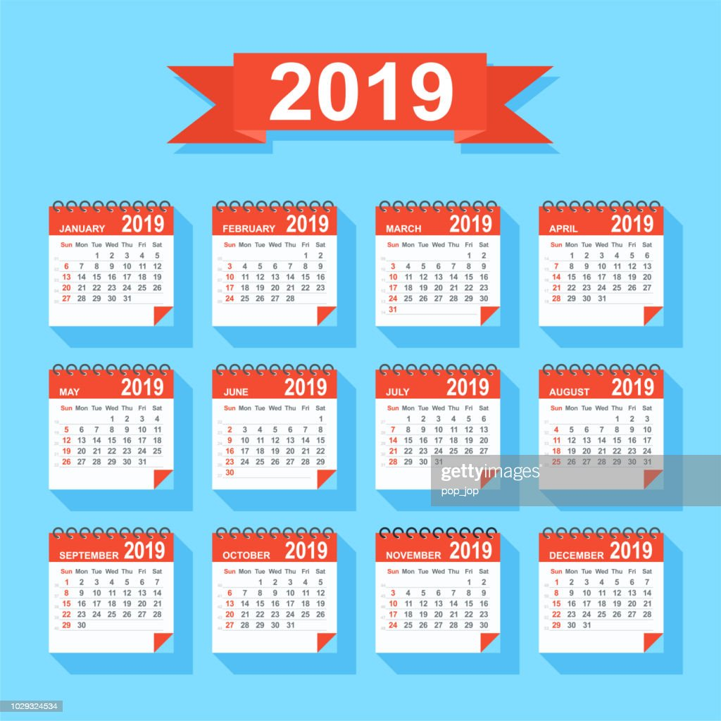 Calendar 2019 - Flat Modern Colorful. Days start from Sunday : stock illustration