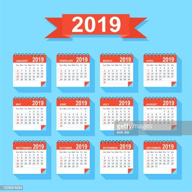 ilustrações, clipart, desenhos animados e ícones de calendário 2019 - apartamento moderno colorido. início de dias de domingo - 2019