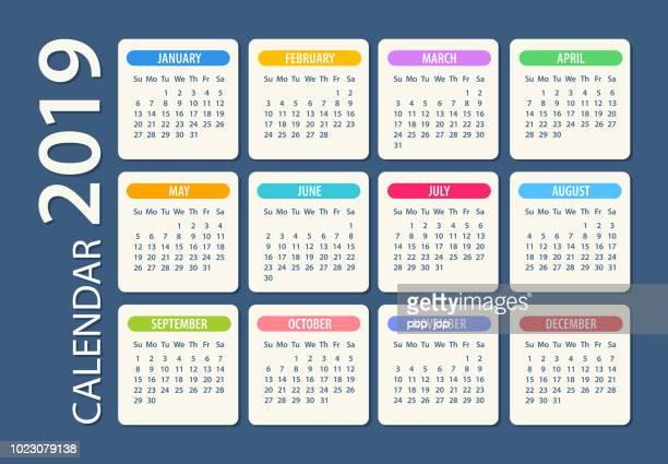 calendar 2019 - illustration. days start from sunday - 2019 calendar background stock illustrations