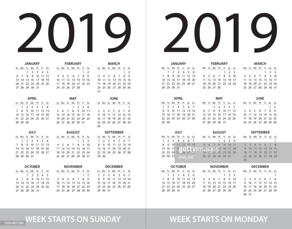 Kalender20 Abbildung Woche Beginnt Am Sonntag Und Woche Beginnt ...