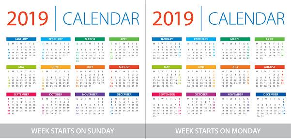 Calendar 2019 - illustration. Week starts on Sunday and Week starts on Monday - gettyimageskorea