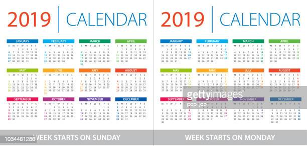 Calendar 2019 - illustration. Week starts on Sunday and Week starts on Monday