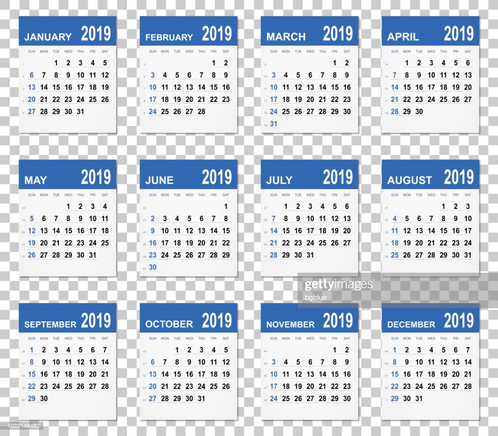 Calendrier 2019 Vectoriel.Calendrier 2019 Sur Arriereplan Vide Illustration Getty Images