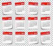 Calendar 2019 on blank brackground