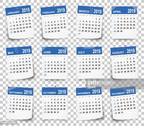calendar 2019 on blank brackground - today single word stock illustrations