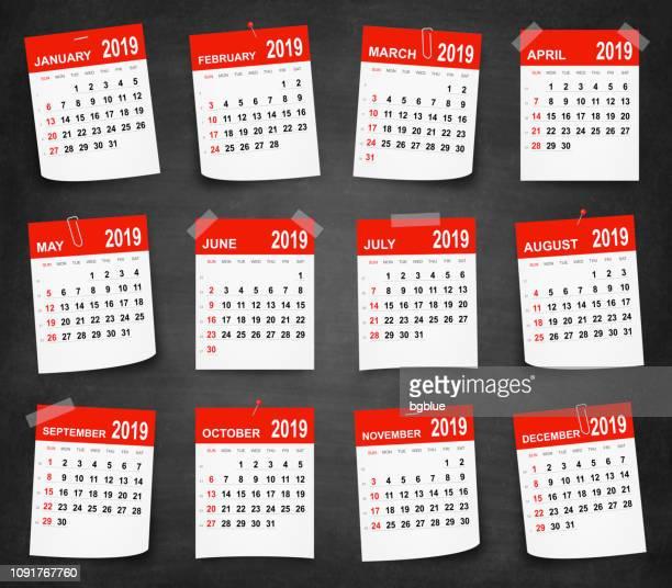 kalender-2019 an tafel - tafel - the black tape project stock-grafiken, -clipart, -cartoons und -symbole