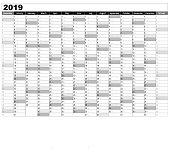calendar 2019 -  Simple Calendar template for 2019  -