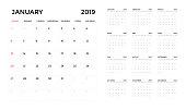 Calendar 2019 template. Calendar planning week.