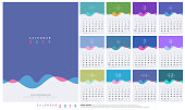Calendar 2019 Trendy Gradients Wave With Pastel Color Style. Set of 12 pages desk calendar. Vector design printing template
