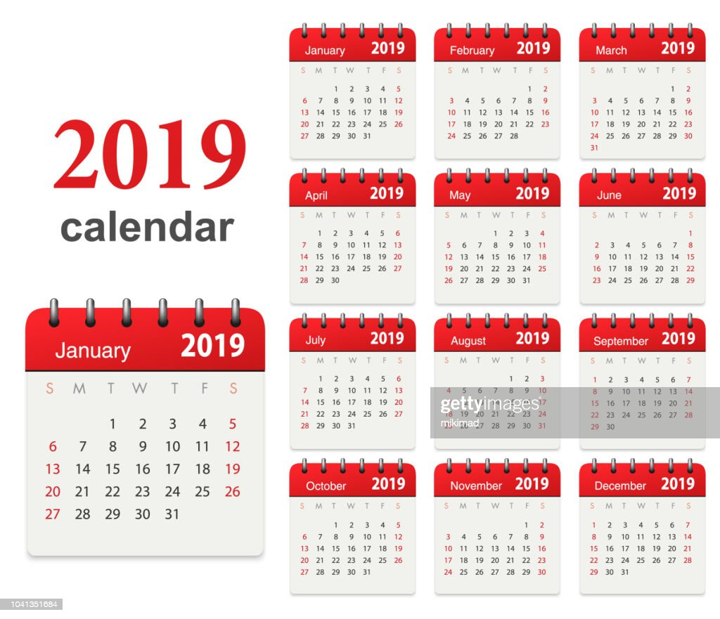 Calendar 2019 : stock illustration