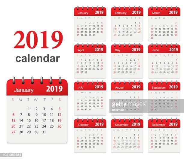 calendar 2019 - 2019 stock illustrations