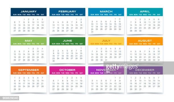 calendar 2019 - annual event stock illustrations